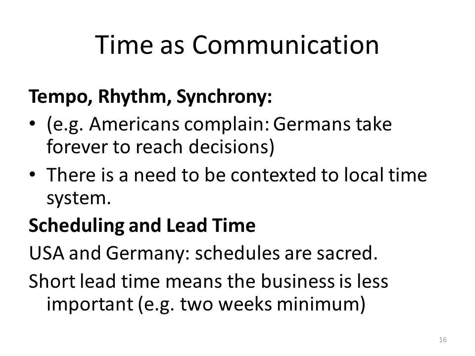 Time as Communication Tempo, Rhythm, Synchrony: