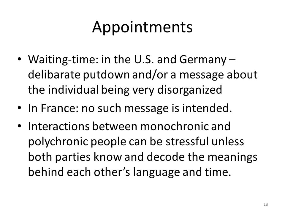 Appointments Waiting-time: in the U.S. and Germany – delibarate putdown and/or a message about the individual being very disorganized.