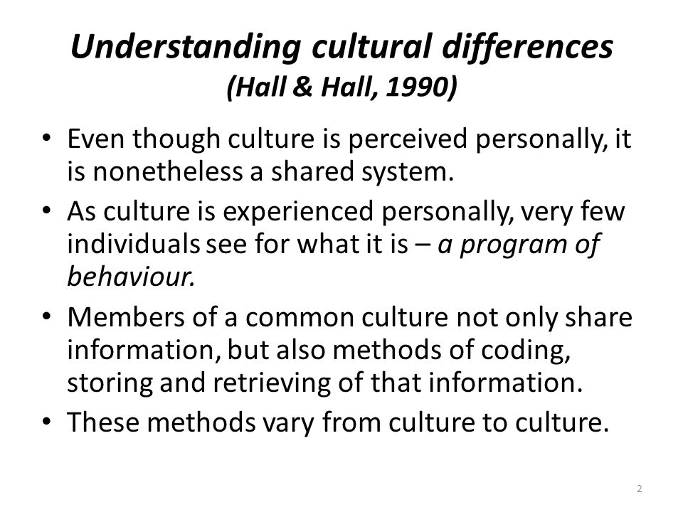 Understanding cultural differences (Hall & Hall, 1990)