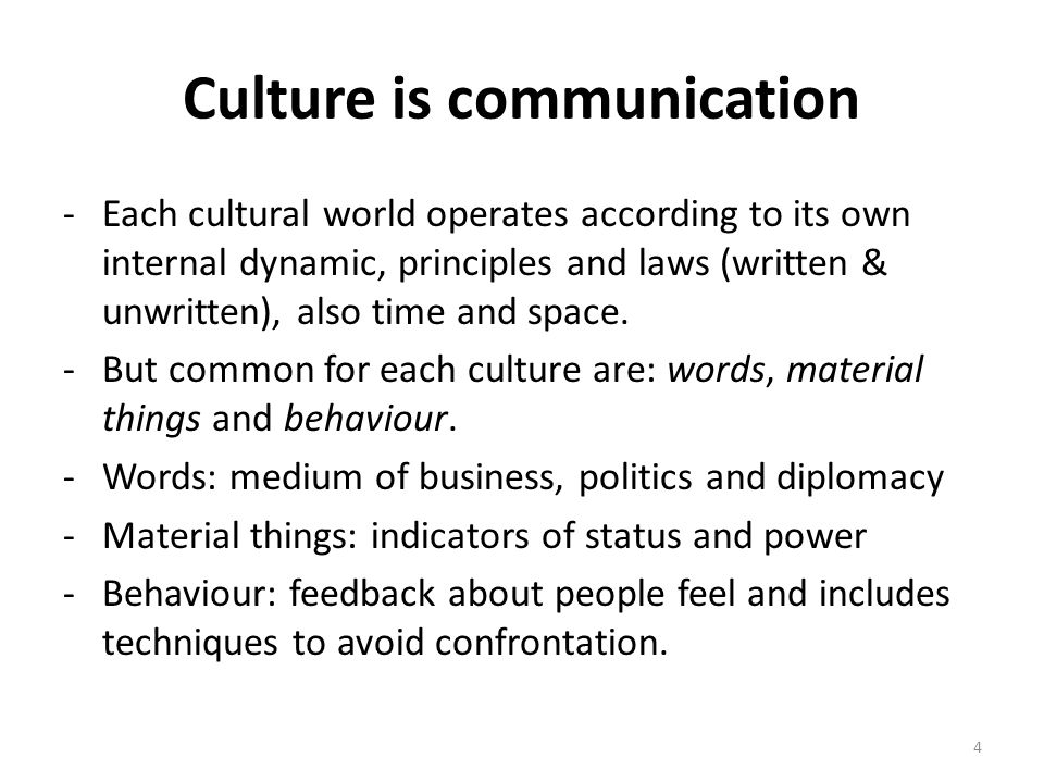 Culture is communication