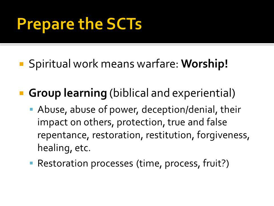 Prepare the SCTs Spiritual work means warfare: Worship!