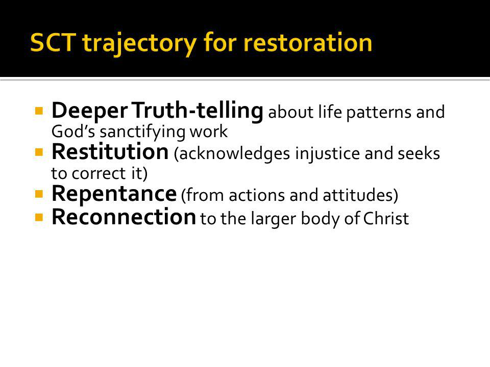 SCT trajectory for restoration