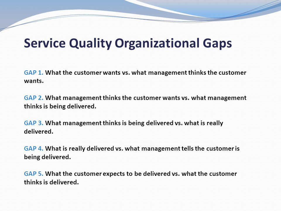 Service Quality Organizational Gaps