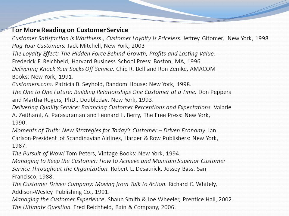 For More Reading on Customer Service