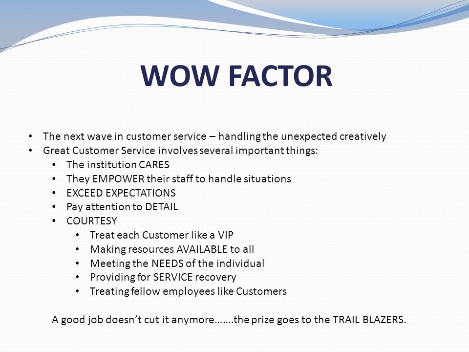 WOW FACTOR The next wave in customer service – handling the unexpected creatively. Great Customer Service involves several important things: