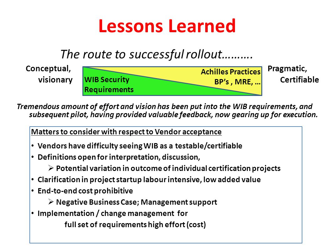 Lessons Learned The route to successful rollout……….
