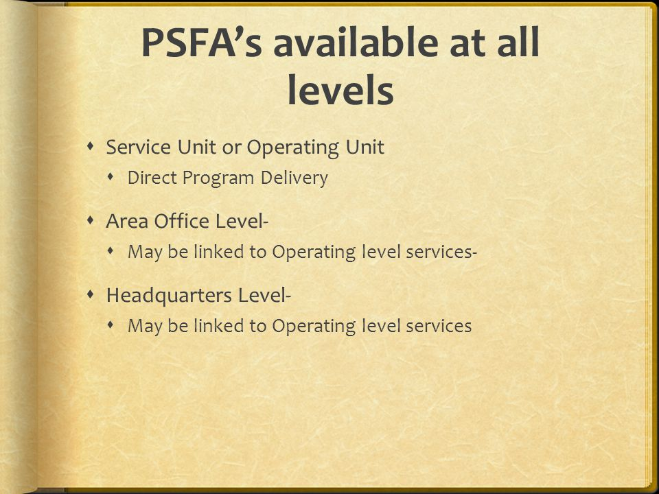 PSFA's available at all levels