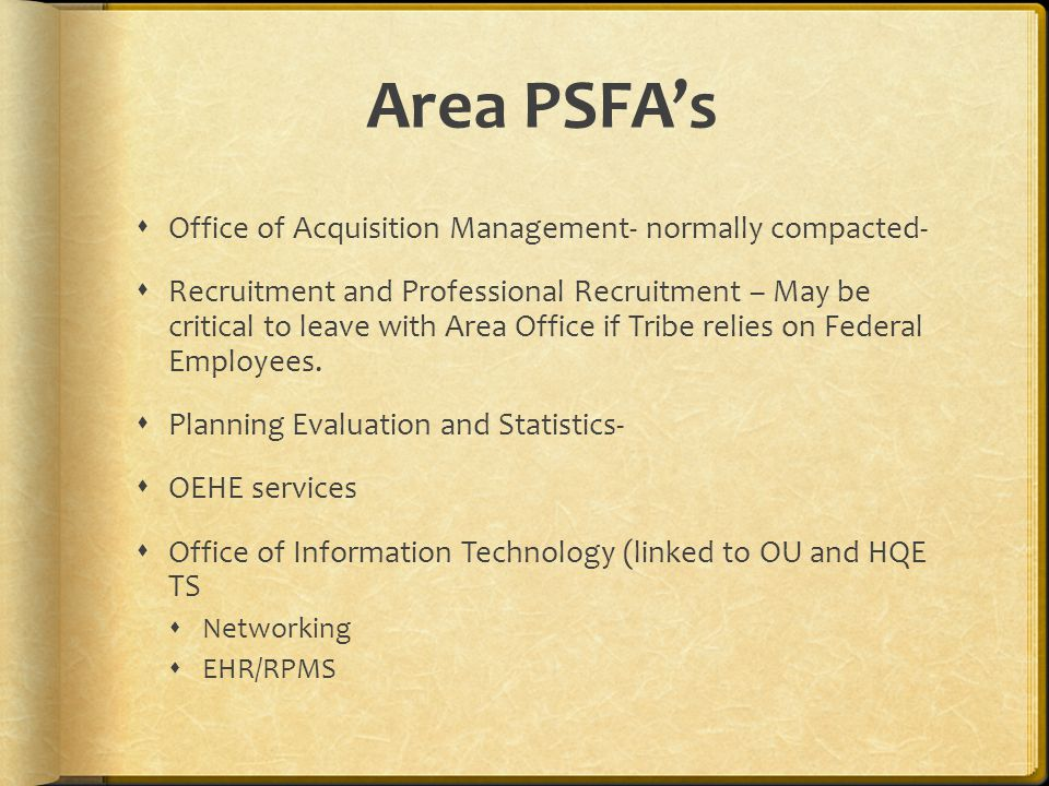 Area PSFA's Office of Acquisition Management- normally compacted-