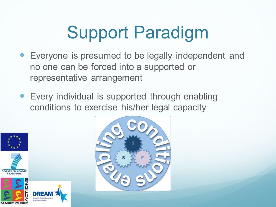 Support Paradigm Everyone is presumed to be legally independent and no one can be forced into a supported or representative arrangement.