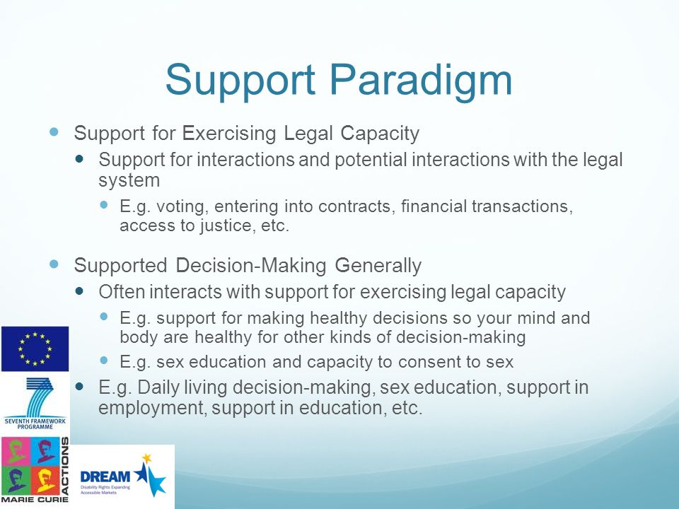 Support Paradigm Support for Exercising Legal Capacity