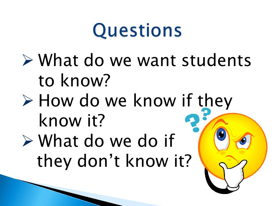 Questions What do we want students to know