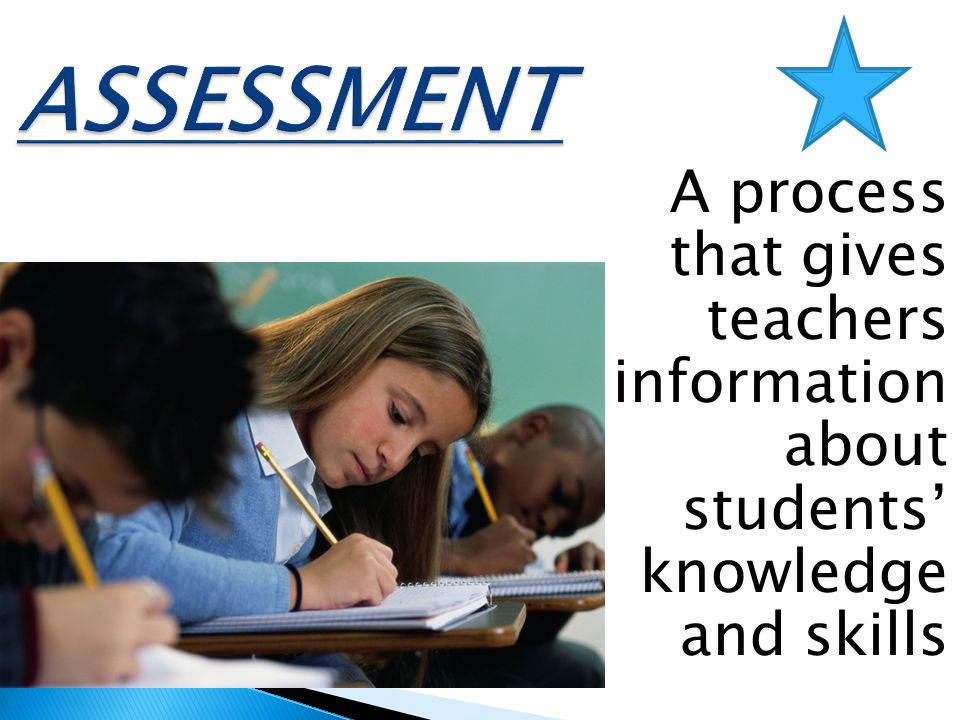 ASSESSMENT A process that gives teachers information about students' knowledge and skills. The answer the second question.