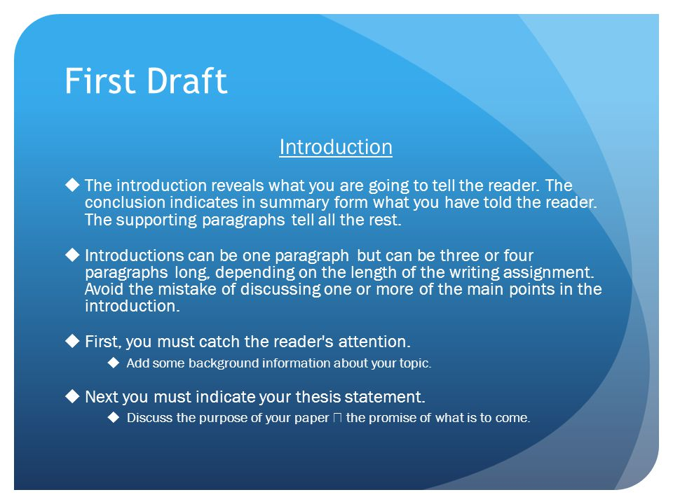 First Draft Introduction