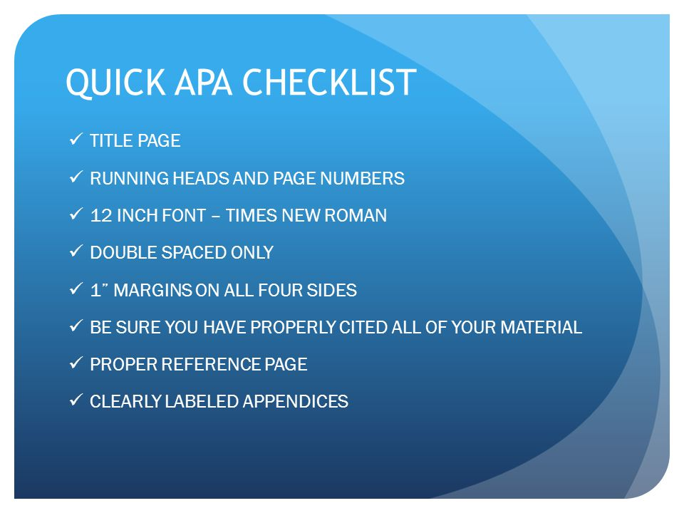 QUICK APA CHECKLIST TITLE PAGE RUNNING HEADS AND PAGE NUMBERS