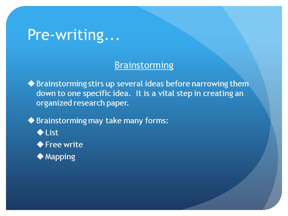 pre writing research paper Pre-submission inquiry  tips for writing an effective research paper title when writing a title in research, you can use the four criteria listed above as a guide .
