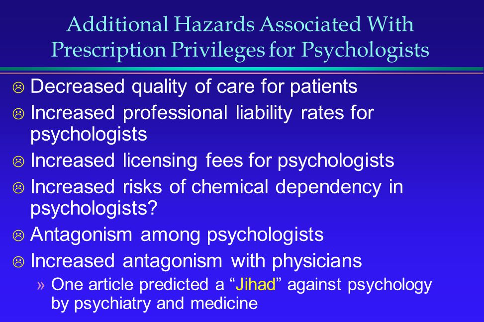 Additional Hazards Associated With Prescription Privileges for Psychologists