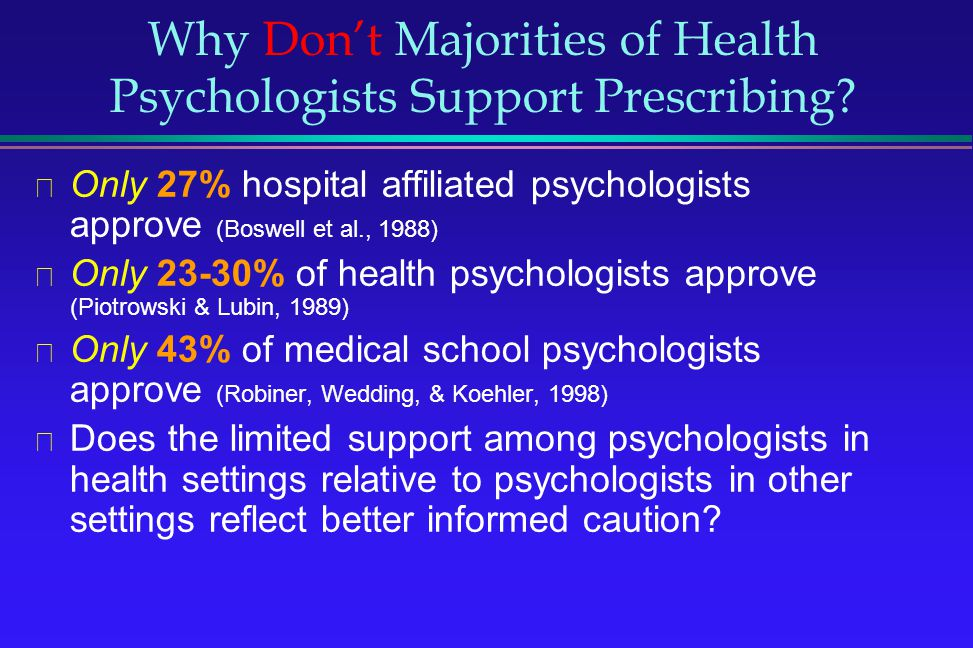 Why Don't Majorities of Health Psychologists Support Prescribing