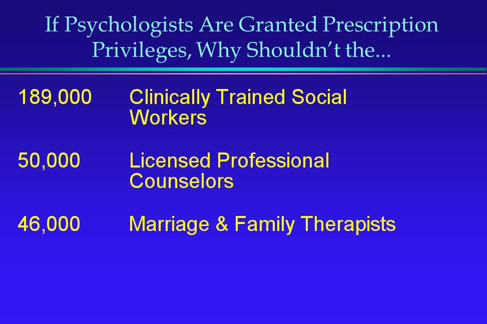 If Psychologists Are Granted Prescription Privileges, Why Shouldn't the...