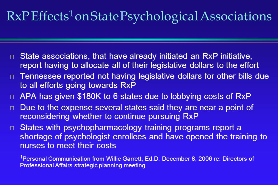 RxP Effects1 on State Psychological Associations
