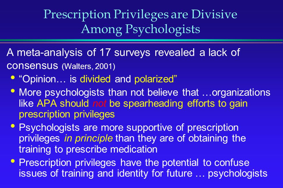 Prescription Privileges are Divisive Among Psychologists