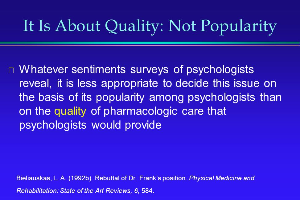 It Is About Quality: Not Popularity