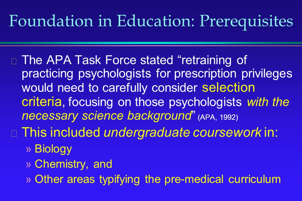 Foundation in Education: Prerequisites