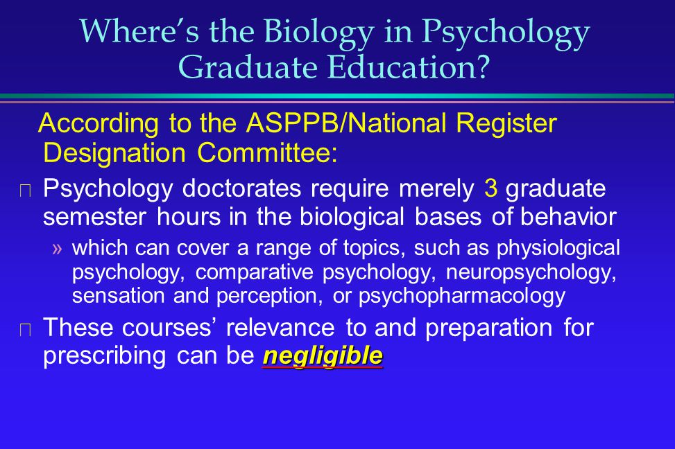 Where's the Biology in Psychology Graduate Education