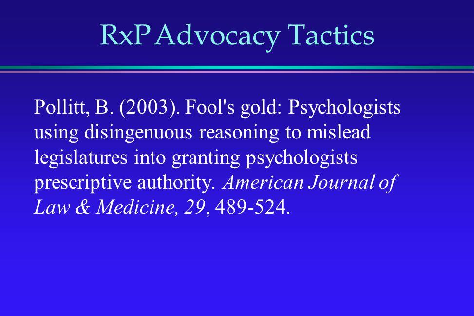 RxP Advocacy Tactics