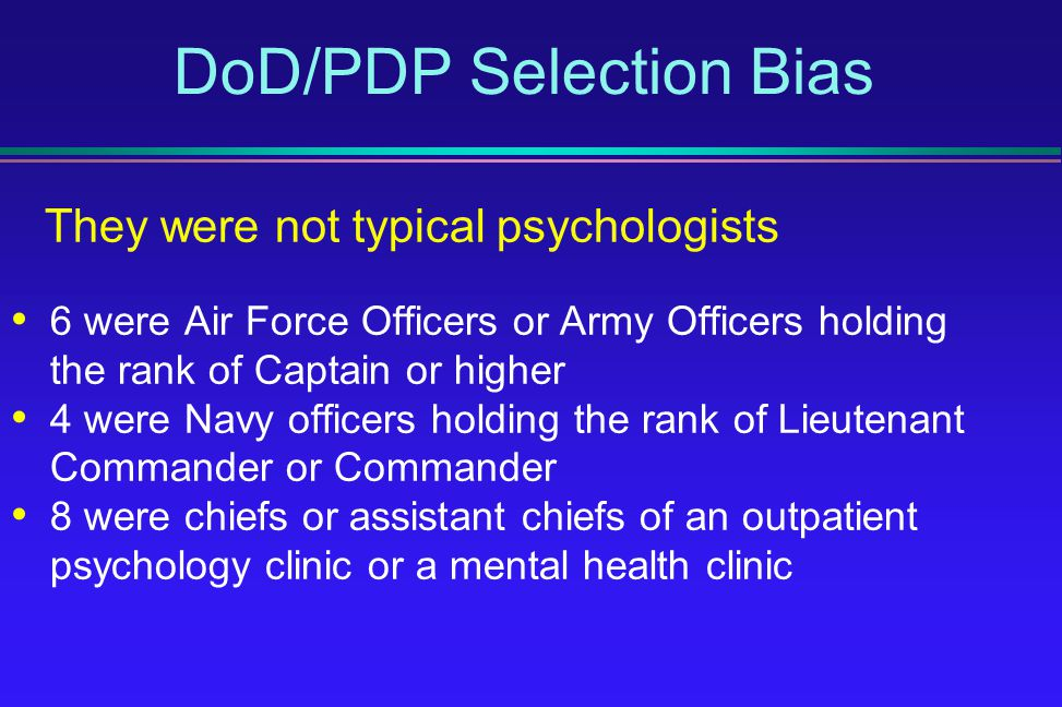 DoD/PDP Selection Bias