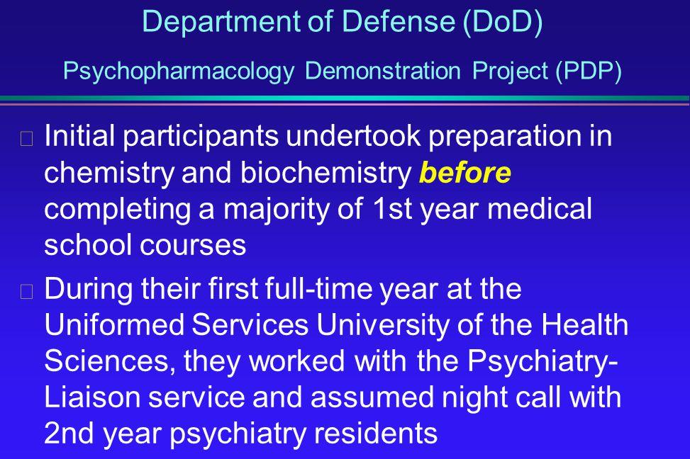 Department of Defense (DoD) Psychopharmacology Demonstration Project (PDP)