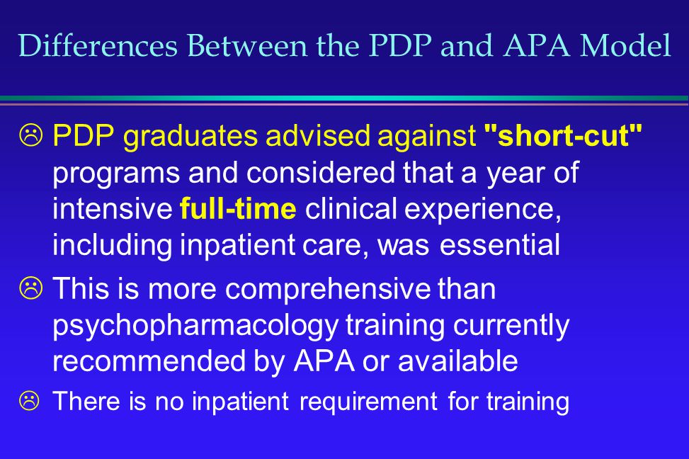 Differences Between the PDP and APA Model