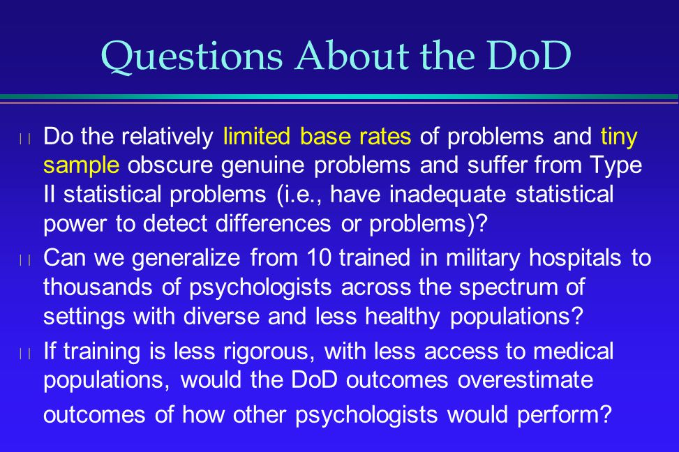 Questions About the DoD