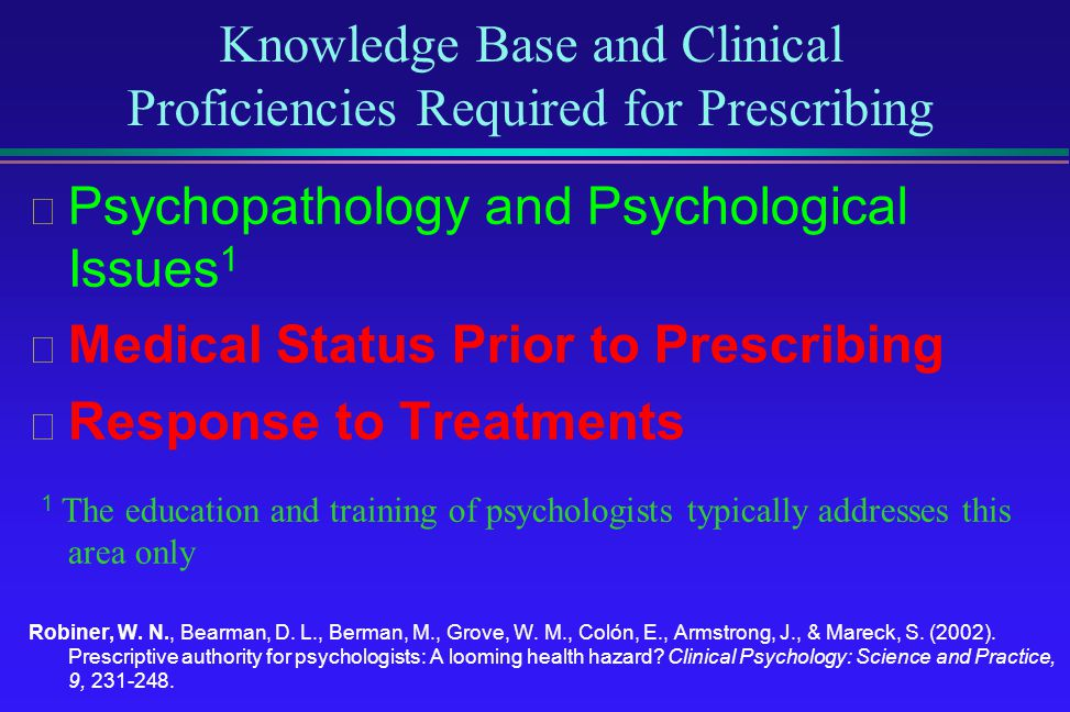 Knowledge Base and Clinical Proficiencies Required for Prescribing