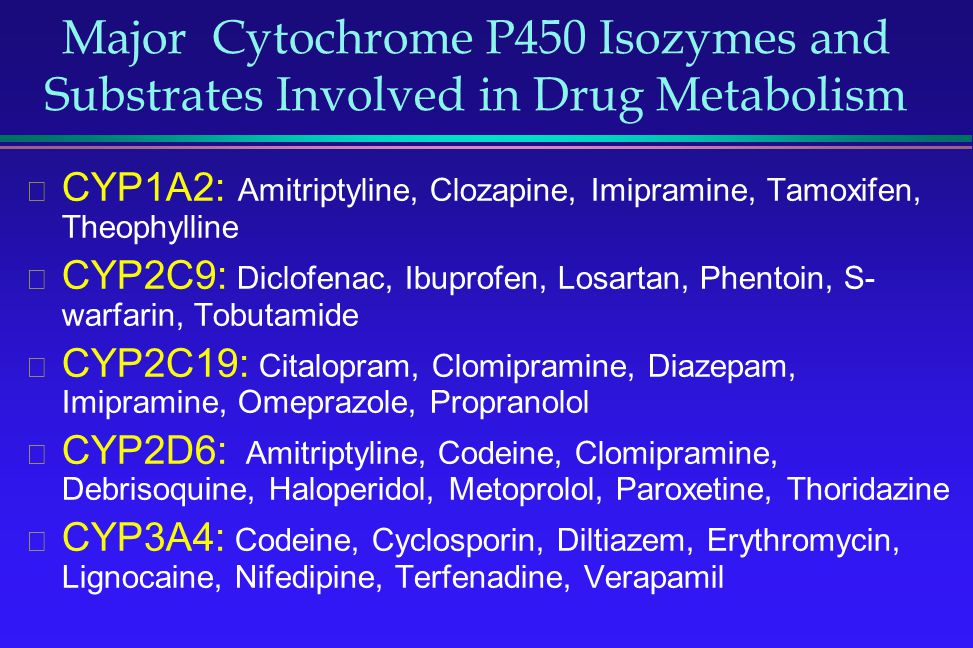 Major Cytochrome P450 Isozymes and Substrates Involved in Drug Metabolism