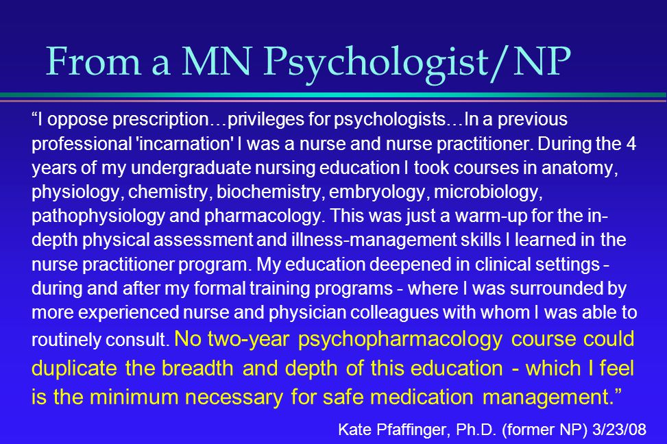 From a MN Psychologist/NP
