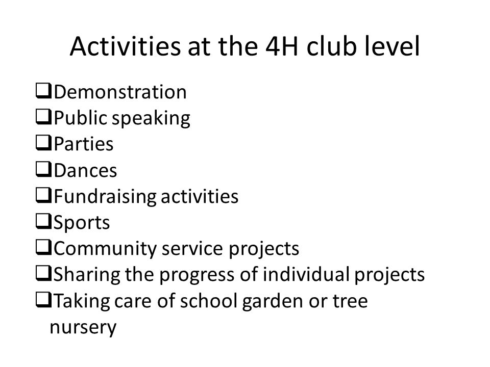 Activities at the 4H club level