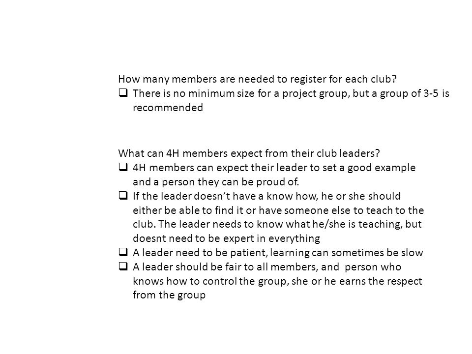 How many members are needed to register for each club