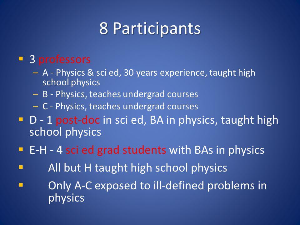 8 Participants 3 professors