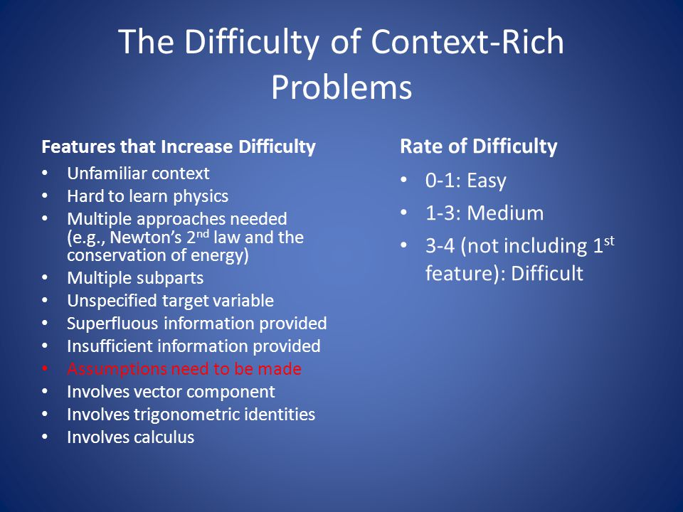 The Difficulty of Context-Rich Problems