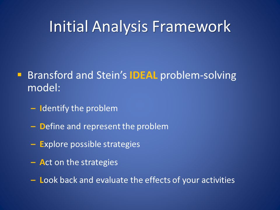 Initial Analysis Framework
