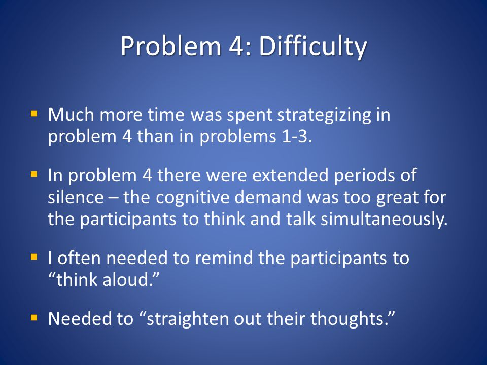 Problem 4: Difficulty Much more time was spent strategizing in problem 4 than in problems 1-3.