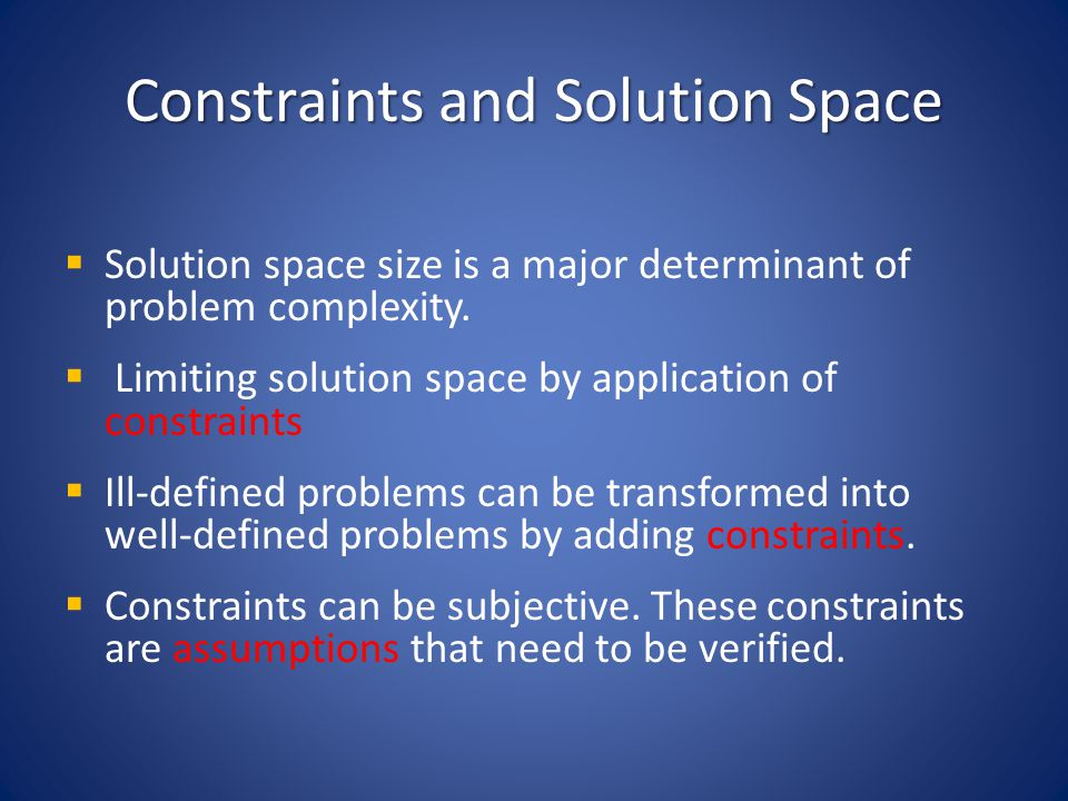 Constraints and Solution Space