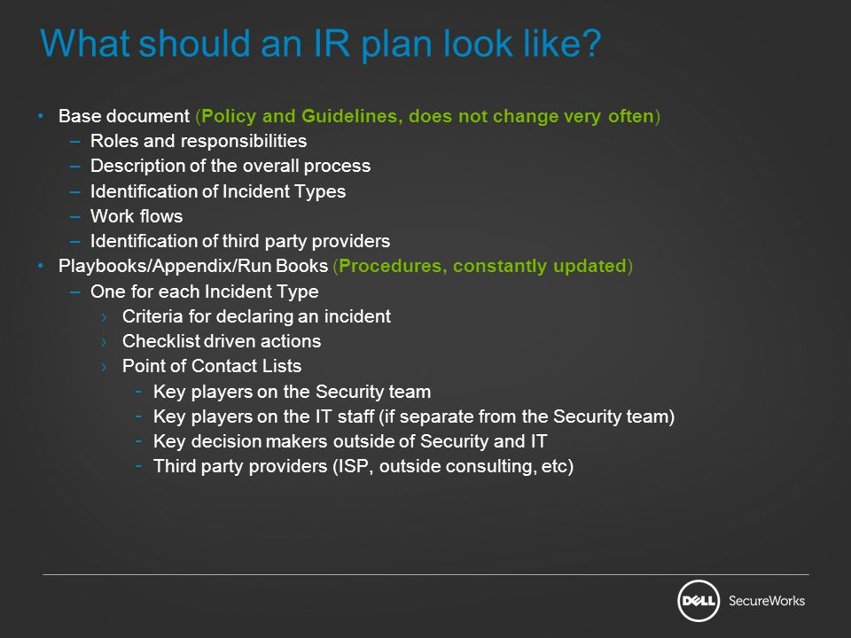 What should an IR plan look like