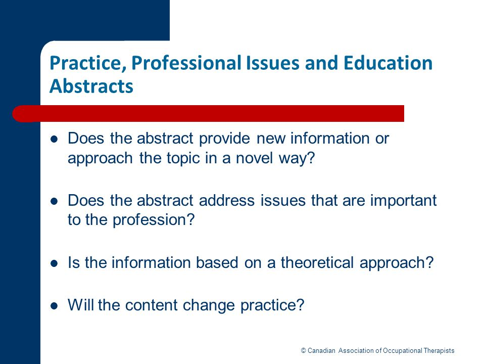 Practice, Professional Issues and Education Abstracts