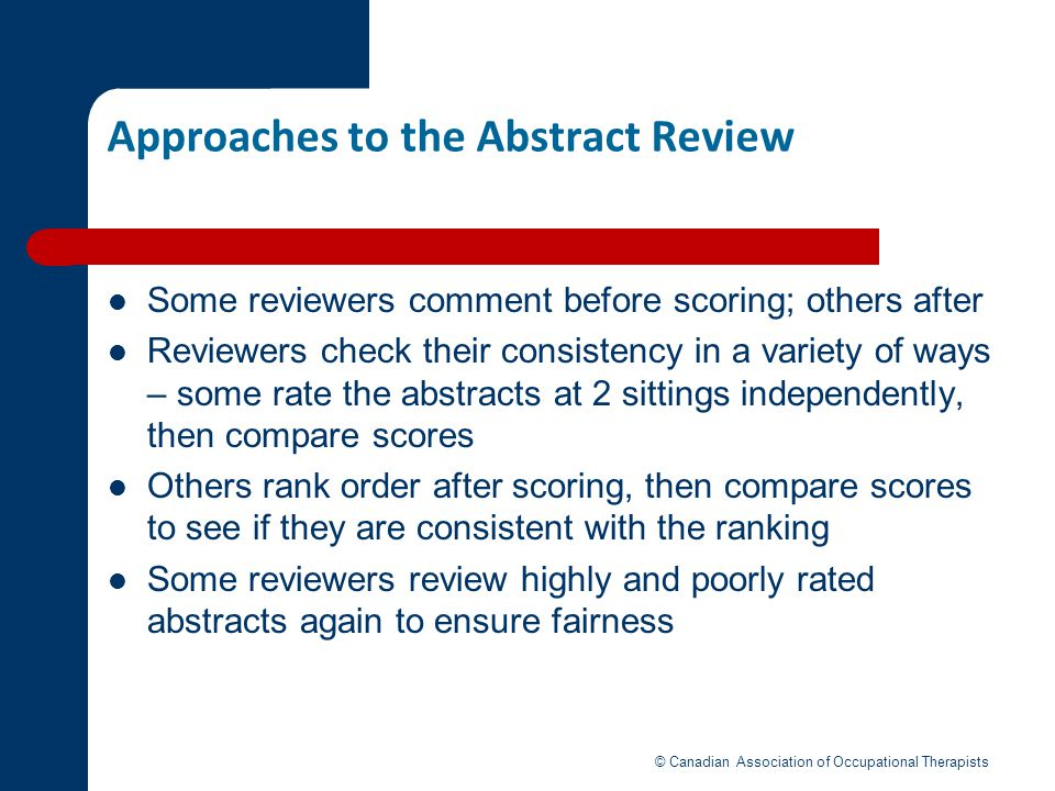 Approaches to the Abstract Review