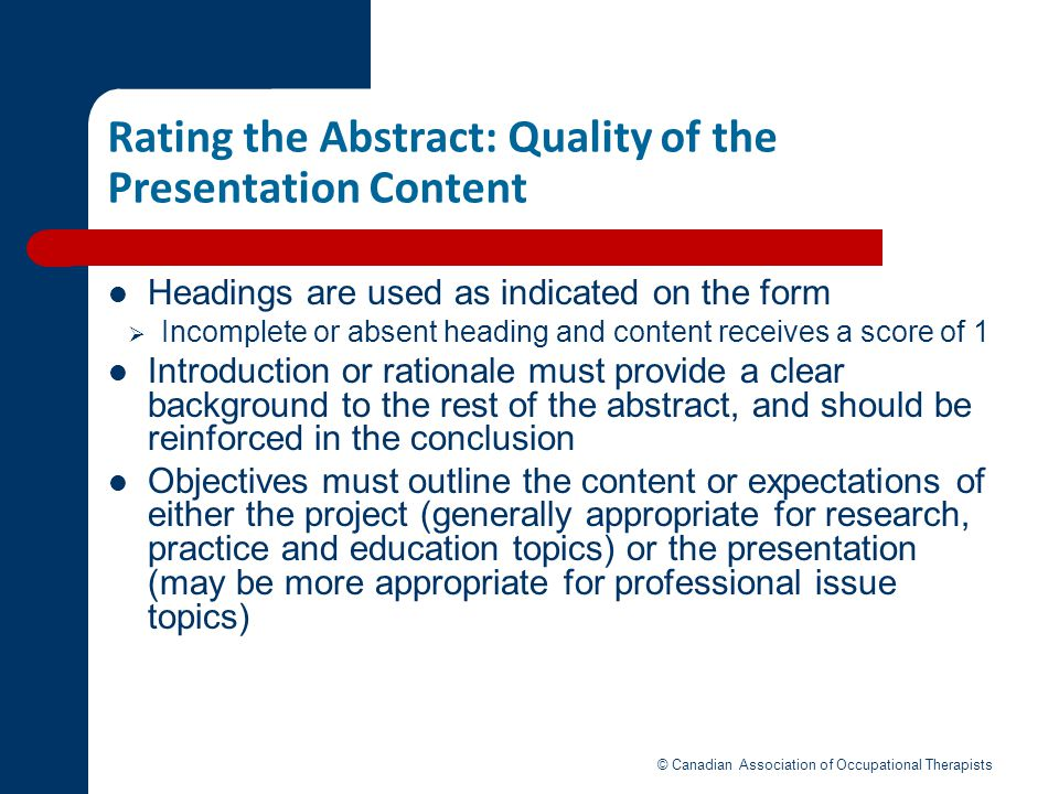 Rating the Abstract: Quality of the Presentation Content