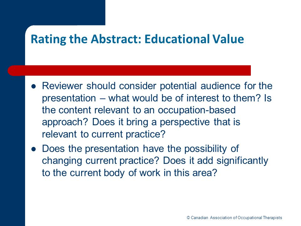 Rating the Abstract: Educational Value
