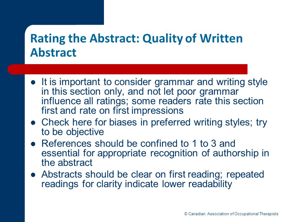 Rating the Abstract: Quality of Written Abstract