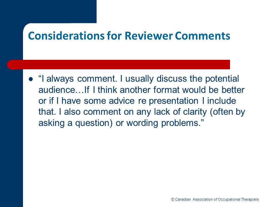 Considerations for Reviewer Comments
