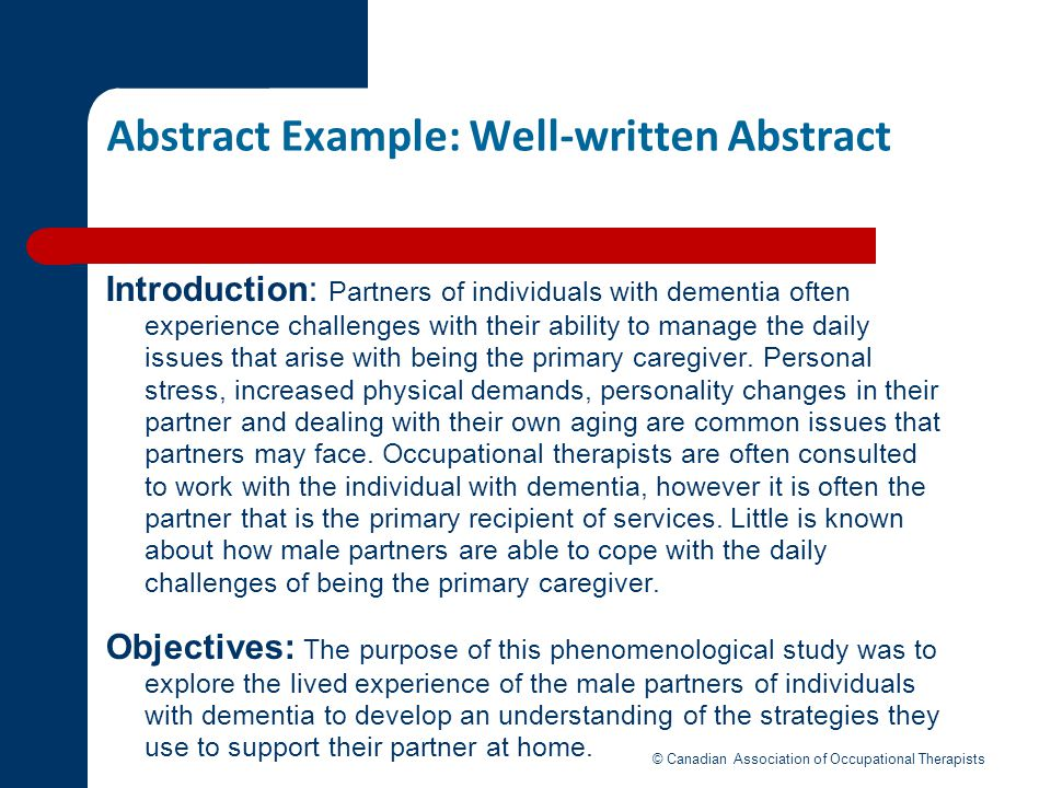 Abstract Example: Well-written Abstract